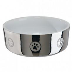 Keramik skål i sølv